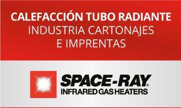 Ejemplo calefaccion tubo radiante bajo consumo industria cartonajes imprentas